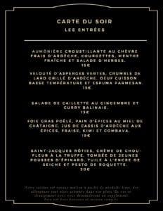 carte du soir entree 232x300 - Bar Glacier Restaurant